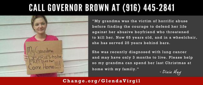 CALL @JerryBrownGov AT 916.445.2841 & let his offices know he must reverse Glenda Virgil's recent parole denial - pic.twitter.com/syJFvlXD