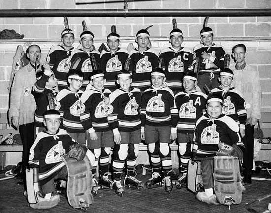 A hockey team from a residential school in Maliotenam, Quebec, in 1950 (Photo: Archives Canada / PA-212964)